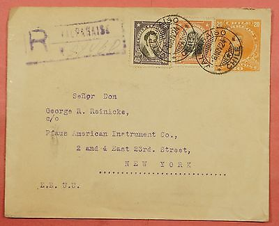 1924 Chile Uprated Stationery Registered Cover Valparaiso To Usa