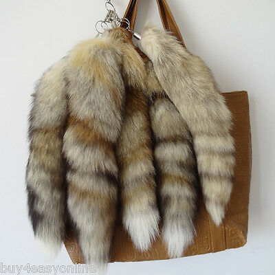 10pcs/lot Real Animal Luxury Natural Fox Tail Fur Keychains Tassel Bag Tag