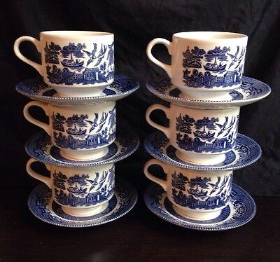 "SET/6 CHURCHILL BLUE WILLOW COFFEE TEA CUPS AND SAUCERS 3"" Cups From England"