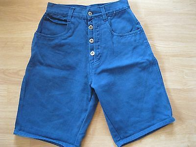 VTG Bill Blass Jean Shorts High Waist Denim Blue Exposed Button Fly Sz 10
