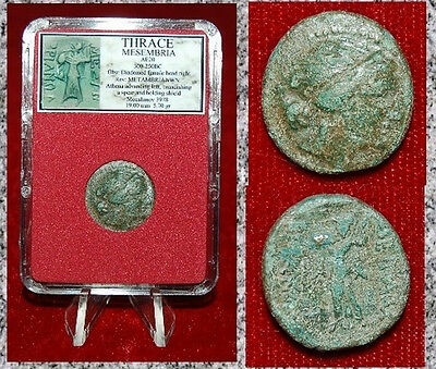 Ancient Greek Coin Thrace Mesembria Athena With Spear And Shield On Reverse