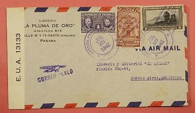 1942 Panama Wwii Censored Airmail Cover To Argentina