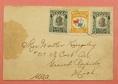 1908 Panama Multi Franked Cover To Usa