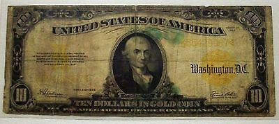 1922 $10 GOLD CERTIFICATE! (Gold coin on demand) FR# 1173 in VG condition!