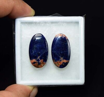 21.35 Cts. 100% Natural Pair Of Multi Sodalite Oval Cabochon Loose Gemstones