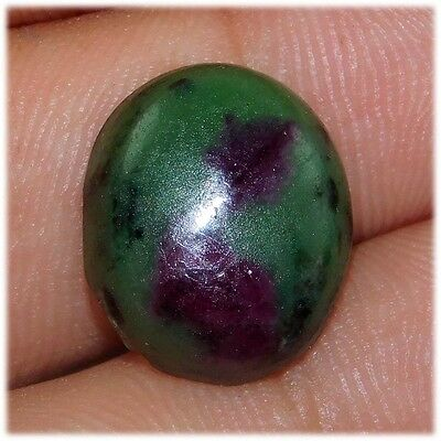 12.00 Cts A+ 100% Natural Fantastic Ruby In Zoisite 14X12 Oval Loose Cabochon
