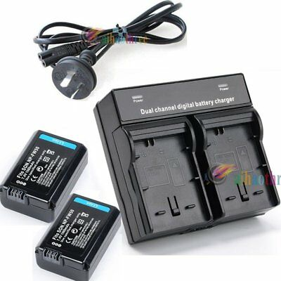 2Pcs NP-FW50 1080mAh Battery + Charger For Sony A6500 A6300 A6000 A5000 RX10 QX1