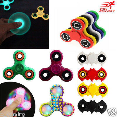 Hand Fidget Spinner Batman Emoji LED Light Glow Focus EDC Stress Toys Kids Gift
