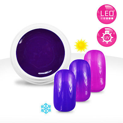 Gel UV / LED Couleur Thermo Violet / Rose Fluo - 5ml Manucure Ongles Nail Art