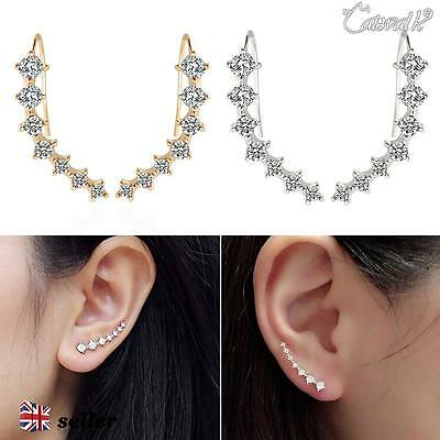 Fashion Ladies Rhinestone Gold Silver Stud Jewelry Crystal Earrings Ear Hook UK