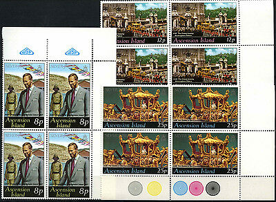 Ascension Islands 1977 Silver Jubilee MNH Corner Blocks Set #D51314