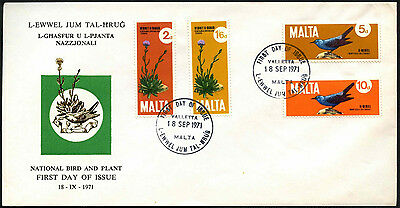 Malta 1971 National Bird & Plant FDC First Day Cover #C42655