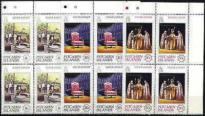 Pitcairn Islands 1977 Silver Jubilee MNH Corner Blocks Set #D51331