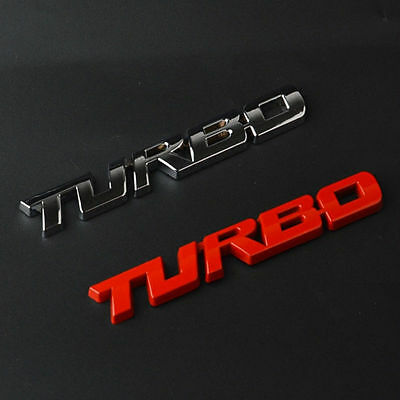 4 Colors 3D TURBO Words Sports Car Sticker Metal Chrome Emblem Rear Trunk Badge