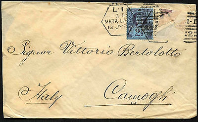 GB QV 1899, 2.5d Queen Victoria Perfin Cover To Italy #C42216