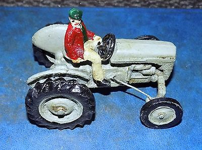 Superb Small Heavy Cast Iron Man On Green Tractor
