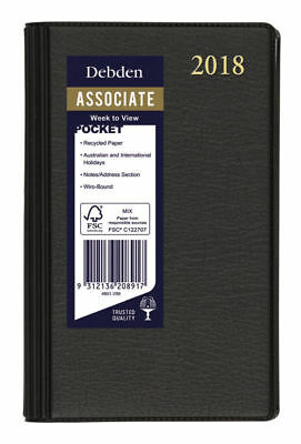Diary 2018 Debden Associate Black Pocket Week to View 4801 12.5x8cm
