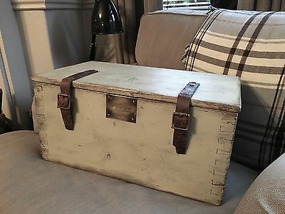 Vintage Wooden Tool Box Chest Trunk With Leather Straps