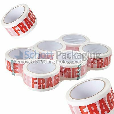 6 Rolls of LOW NOISE FRAGILE TAPE 48mm x 66M LONG LENGTH PACKING PARCEL TAPE