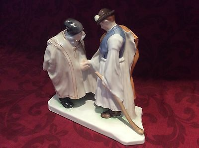 "HEREND PORCELAIN FIGURINE No. 5506 ""FAREWELL"" (Father & Son) PERFECT CONDITION"