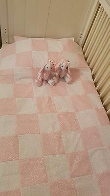 Handmade patchwork quilt with matching pillow + 2 rag doll rabbit (sister's)