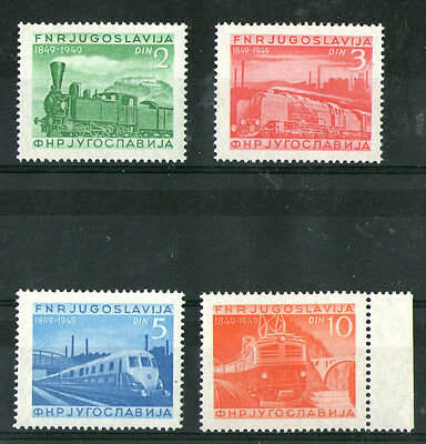 YUGOSLAVIA 1948 RAILWAY CENTENARY SET OF 4 COMMEMORATIVE STAMPS SG 631/633a  MNH