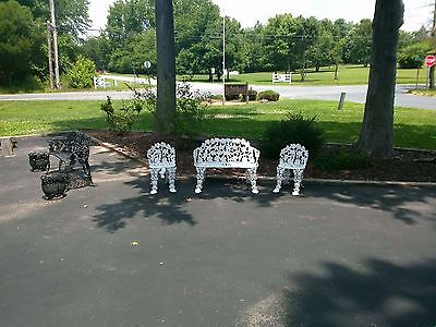 Antique Cast Iron Garden Patio Chairs & Table 3 Piece Set Restored Castiron