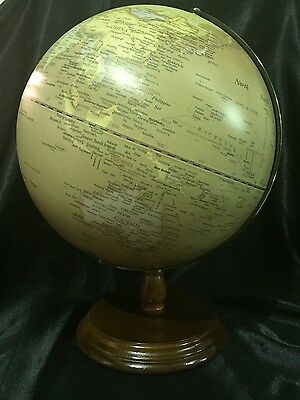 Antique World Ocean Globe 30cm With Copper Arm  & Wooden Base