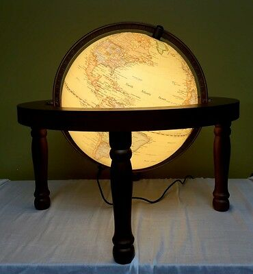 Embossed Antique  Globe 25cm Gimbal Arm Wooden Stand  & Led Light