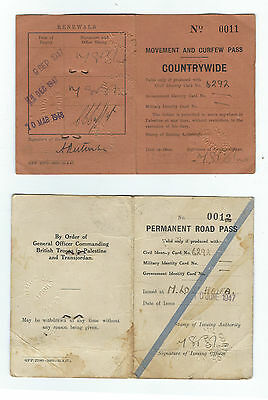 Judaica Palestine Permanent Road Pass & Movement Curfew Pass Countrywide 1947 -8