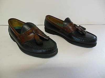 Mens Sebago Lites Black Leather  Slip On Casual Dress Slip Ons Tassle Size 8D