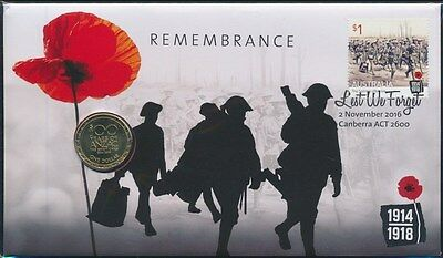 Australia 2016 $1 Remembrance 100 Years of ANZAC PNC