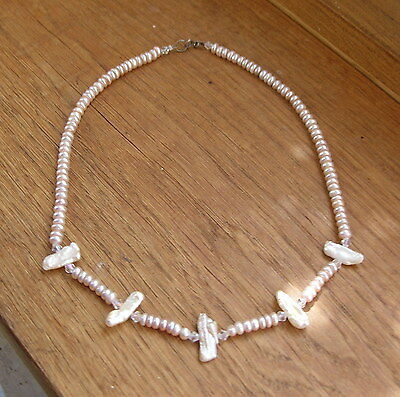 Unusual Vintage Baroque Real Pearl & Shell Necklace W Sterling Silver Clasp  Vgc