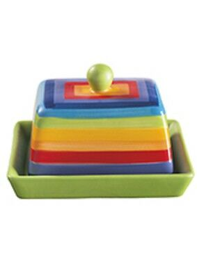 Hand Painted Rainbow Striped Multicolourd Ceramic Butter Dish/Toast Rack/Egg Cup