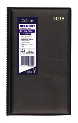 Diary 2018 Debden Belmont Black Octavo Day to Page + Month Tabs 61PA 18x11cm