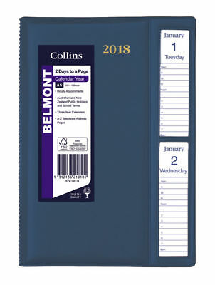 Diary 2018 Debden Belmont Navy A5 Windowfaced 2 Days to Page 287W 22x15.5cm
