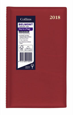 Diary 2018 Debden Belmont Cherry Red Octavo Day to Page + Month Tab 61PA 18x11cm