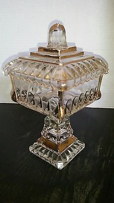 Vintage Clear Glass Square Pedestal Compote Candy Dish Gold Accents With Lid
