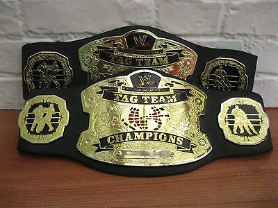 Retro WWE Tag Team Championship Title Wrestling Belt Pair Jakks Pacific 2005