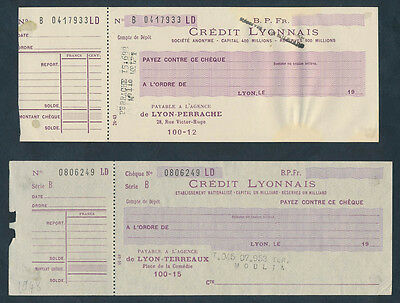 France: 1943 & 1948 Credit Lyonnais. Old World War II Era Cheques SCARCE