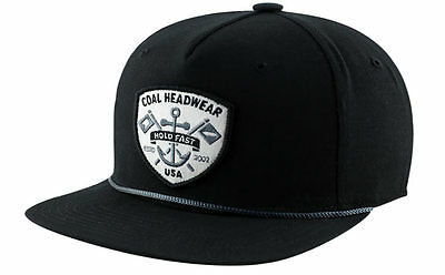 Coal THE EBB TIDE BLACK Baseball Cap Hat Classic Snapback - Nautical Anchor