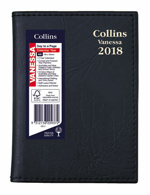 Diary 2018 Collins Vanessa Black A6 Day to Page Spiral 165