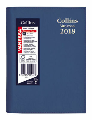 Diary 2018 Collins Vanessa Blue A6 Week to View Spiral 365