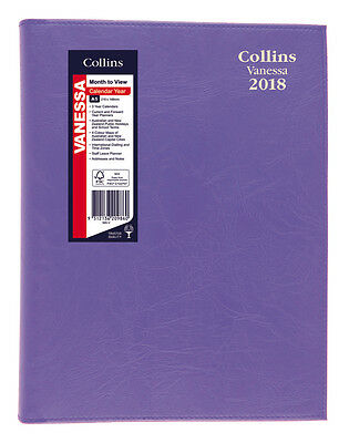 Diary 2018 Collins Vanessa Purple A5 Month to View + Notes Spiral 585 22x15.5cm