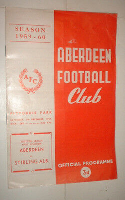 1959/60 ABERDEEN v STIRLING ALBION LEAGUE