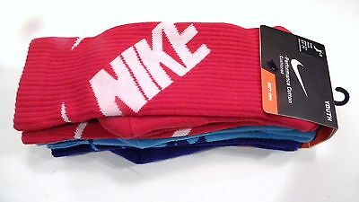 New Nike Boys Sock SX4715 968 red blue turquoise 5Y - 7Y 3 Pack