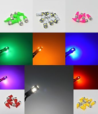 T10 5 Smd Bulbs Led White Blue Yellow Pink Green W5W 501 Side Light Wedge Car