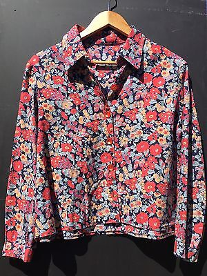 Vintage 70s 80s Liberty Navy Floral Cotton Wool Shirt Blouse Jacket 12 14 M