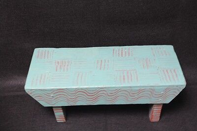 Small Vintage Hand Painted Step Stool Aqua Blue And Red