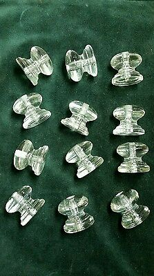 12 big heavy glass cabinet knobs or drawer pulls 1 3/4 wide  1 1/2 in. tall  #X3
